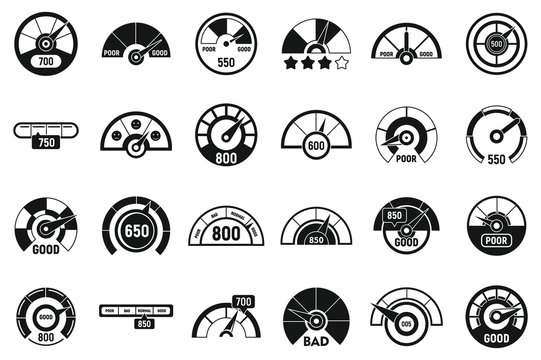 Credit score meter icons set. Simple set of credit score meter vector icons for web design on white background