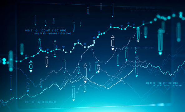 Digital graph background, stock market and coding