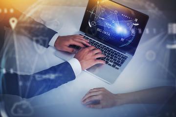 Fotobehang - Man and woman using big data interface