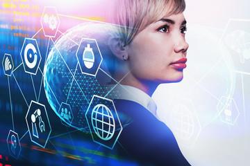 Fotobehang - Asian businesswoman, immersive network interface