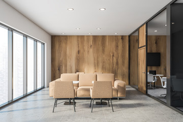 White and wooden office lounge interior