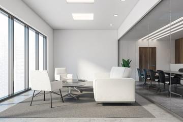 Fototapeta White and wood office lounge with white sofas obraz