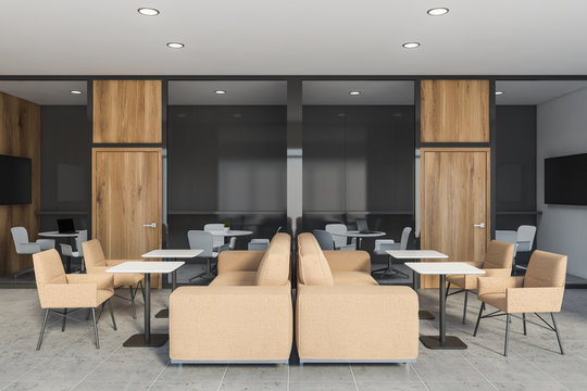 Gray and wooden office lounge interior