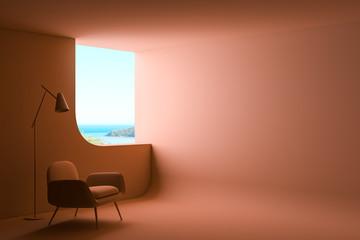 Orange living room interior with armchair