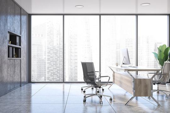 Panoramic executive office interior, gray bookcase