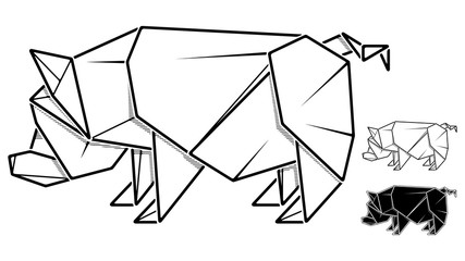 Vector monochrome image of paper pig origami (contour drawing by line).