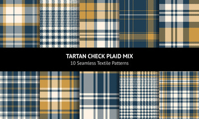 Tartan plaid pattern background set. Seamless check plaid graphic in blue, gold, and off white for scarf, flannel shirt, blanket, throw, duvet cover, or other autumn winter textile design.