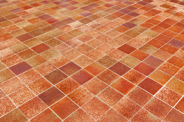 Big Red Luxury Ceramic Clinker Pavers for Patio. Original big floor pavers in a path, detail of a pavement to walk.