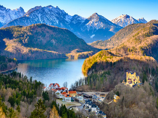 Landscape of Bavatian lake and surrounded Alps  from the Neuschwanstein castle, Germany.