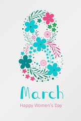 March 8. International Women's Day banner. Vector spring holiday illustration with flower decor
