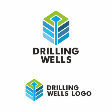 Drilling logo. Stylized well of water in the strata of the earth. Vector graphics