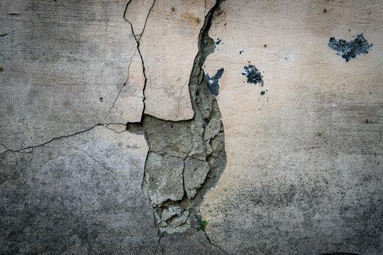 Street wall concrete background, cracked concrete wall
