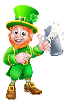 A Leprechaun St Patricks Day cartoon character mascot holding a drink and pointing
