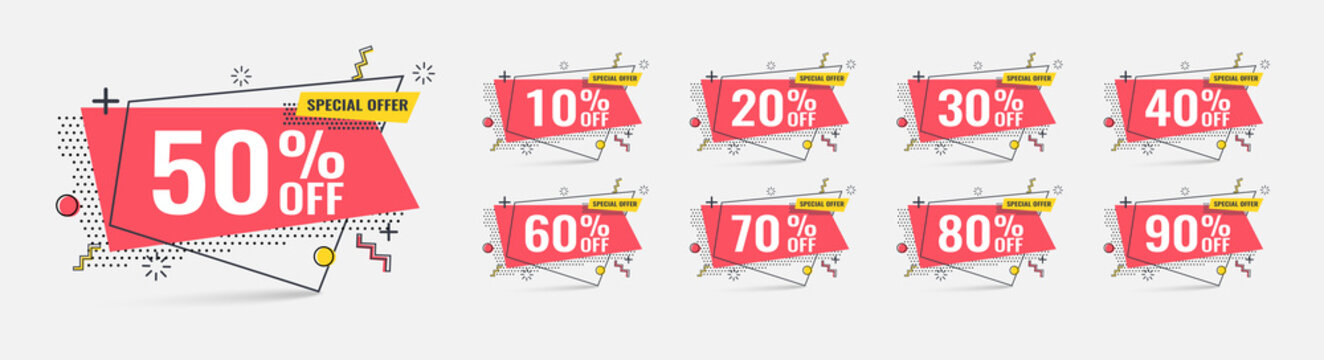 Sale tags set vector badges template, 10 off, 20 %, 90, 80, 30, 40, 50, 60, 70 percent sale label symbols, discount.