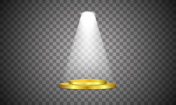 Volume light spotlights shine on the podium. Vector illustration