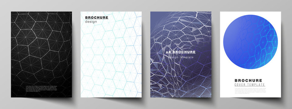 Vector layout of A4 format cover mockups design templates for brochure, flyer. Digital technology and big data concept with hexagons, connecting dots and lines, polygonal science medical background.