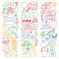 Wall Murals Doodle Kindergarten preschool school children. Kids drawing style vector pattern. Play grow learn together.