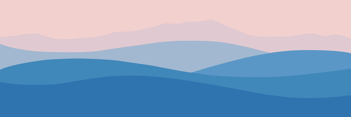 Vector illustration of mountains, ridge in the morning haze, panoramic view Wall mural