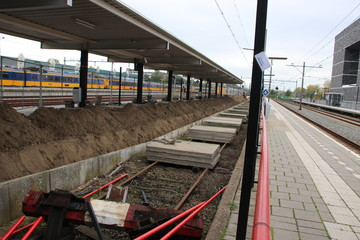 Removal of platform 9 on Gouda station which used to be a low platform for light rail trains