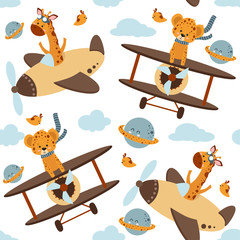 seamless pattern with animals and airplanes in the sky - vector illustration, eps