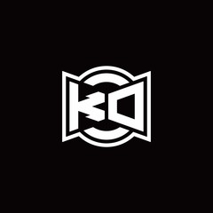 KD logo monogram with ribbon style circle rounded design template
