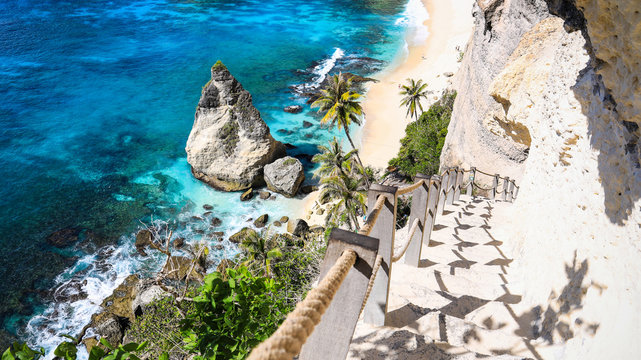 Stairway to Heaven at Diamond beach in Nusa penida island, Bali in Indonesia.