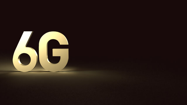 3d rendering 6g text gold surface glow in dark image for mobile technology content.