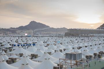 Makkah, Saudi Arabia: Landscape of Mina, City of Tents, the area for hajj pilgrims to camp during jamrah 'stoning of the devil' ritual