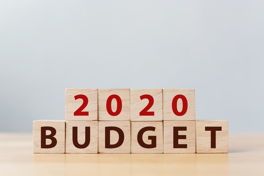 2020 budget financial management concept. Wooden cube block with word BUDGET.