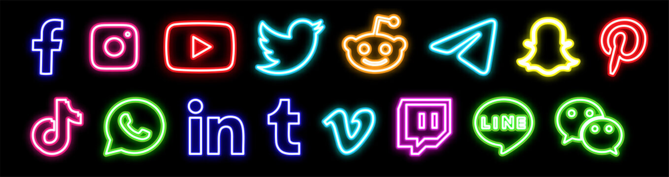 Facebook, twitter, instagram, youtube, reddit,telegram,snapchat, pinterest, tiktok logo.. Facebook, twitter, instagram, youtube, reddit,telegram,snapchat, pinterest, tiktok neon sign