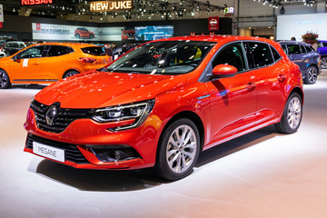 BRUSSELS - JAN 9, 2020: New Renault Megane car model showcased at the Brussels Autosalon 2020 Motor Show.