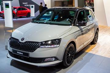 BRUSSELS - JAN 9, 2020: New Skoda Fabia car model showcased at the Brussels Autosalon 2020 Motor Show.