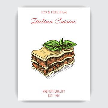 Vector illustration sketch - lasagna.