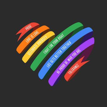 Lgbt ribbon shaped heart. Vector illustration.