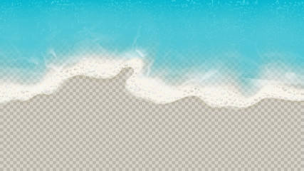Top view of sea waves isolated on transparent background. Vector illustration with aerial view on realistic ocean or sea waves with foam. Fotomurales