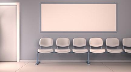 Obraz szablon poczekalnia szpital biuro poziomy pusty mockup render 3D - fototapety do salonu