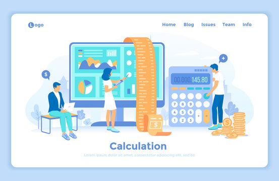 Calculation, bookkeeping, economic audit, financial analysis, tax accounting, bill payment. People work with documents, invoice, bill. landing web page design template decorated with people characters