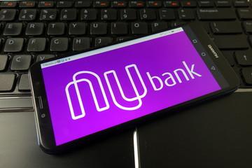 KONSKIE, POLAND - December 21, 2019: Nubank fintech logo on mobile phone