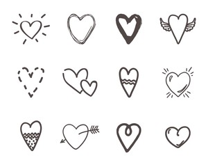 Hand drawn hearts. Outline scribble brush heart set. Doodle ink drawings love sketch. Vector minimalism rough pencil cute illustration hearts shape with wings or arrow