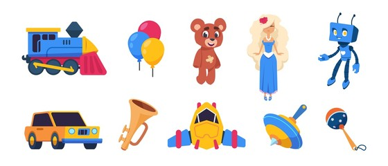 Cartoon toys. Cute baby dolls, colored balloons, spaceship car train transport toys isolated on white background. Vector set flat emblems of kid toy