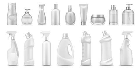 Realistic dispenser. Cosmetic containers and white blank cleaner bottles, 3D isolated toilet and bath household chemicals. Vector blank bottle set for detergents or cosmetic product