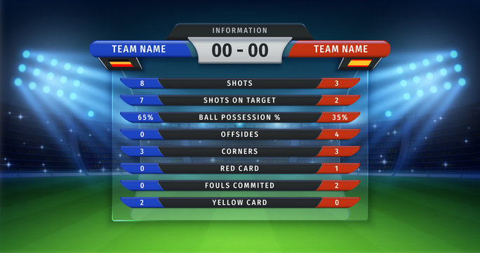 Football scoreboard. Soccer cup statistics of teams, championship or sport match information table on vector background of football stadium. Sport league lineup statistics information outdoor