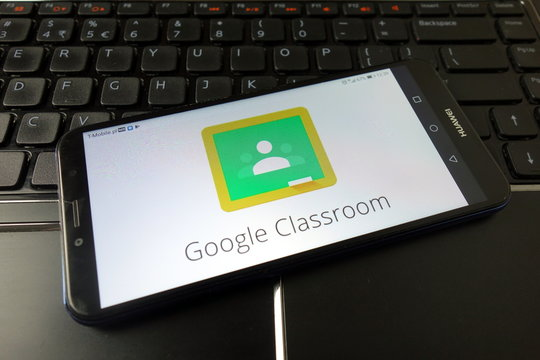 KONSKIE, POLAND - December 21, 2019: Google Classroom web service logo on mobile phone