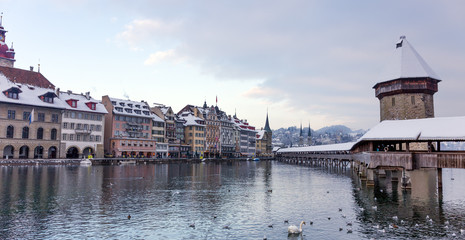 Chapel bridge in the winter, Lucerne, Switzerland.
