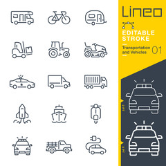 Lineo Editable Stroke - Transportation and Vehicles outline icons