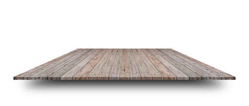 Empty top of wooden table or counter isolated on white background. For product display or design