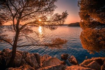 Poster de jardin Cote panoramic sunset view on rocky croatian coast, breathtaking nature scenery, colorful summer landscape, Adriatic sea, Dalmatia, coast between Primosten and Sibenik wallpaper Croatia, Europe,