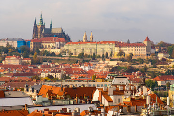 Elevated View of Prague Castle Complex and City Rooftops