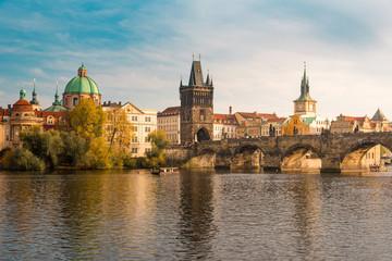 Beautiful Autumn View of Charles Bridge in Prague, Czechia