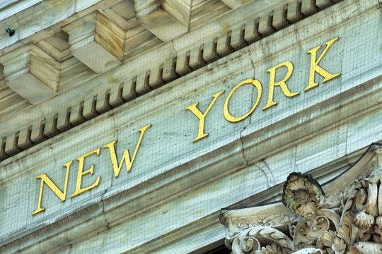 New York Schriftzug in Gold